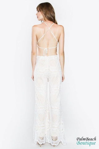 Faleshia Crochet Jumpsuit - Off White / Small - Sale