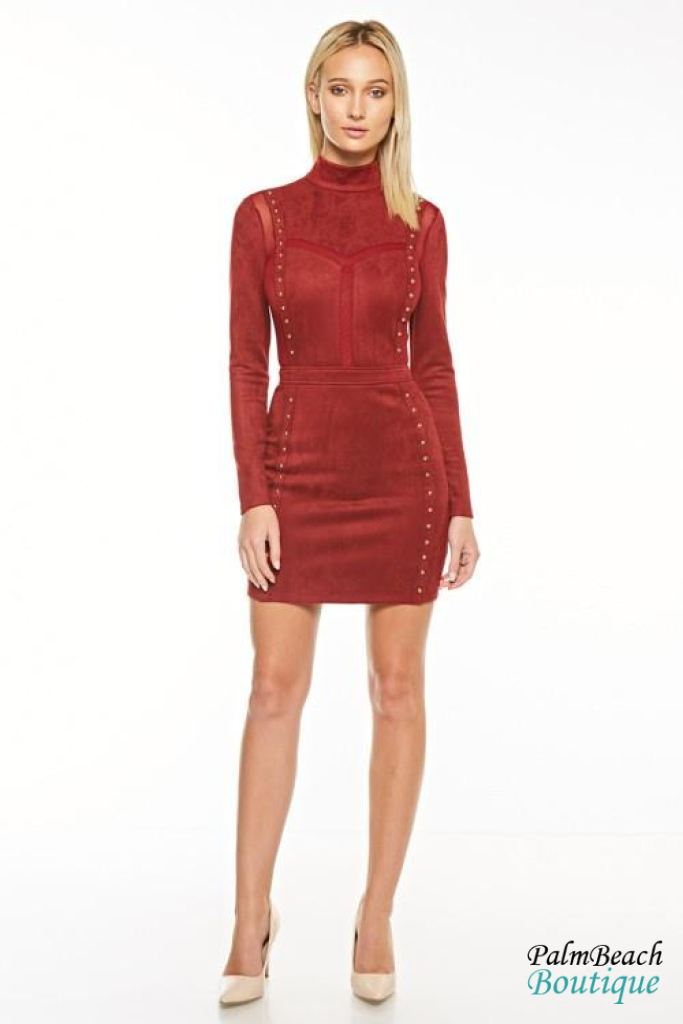 Faux Suede Bodycon Dress - Dresses