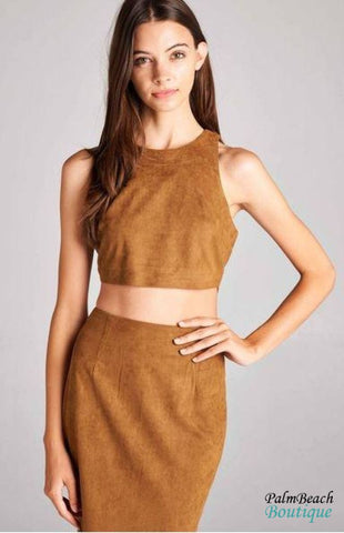 Faux Suede Crop Top W/pencil Skirt - 2-Pc Sets