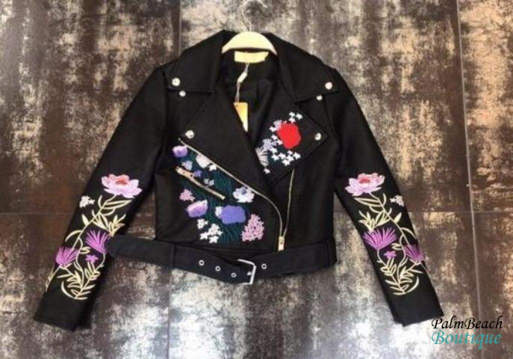 Floral Black Biker Jacket - Jackets & Outerwear