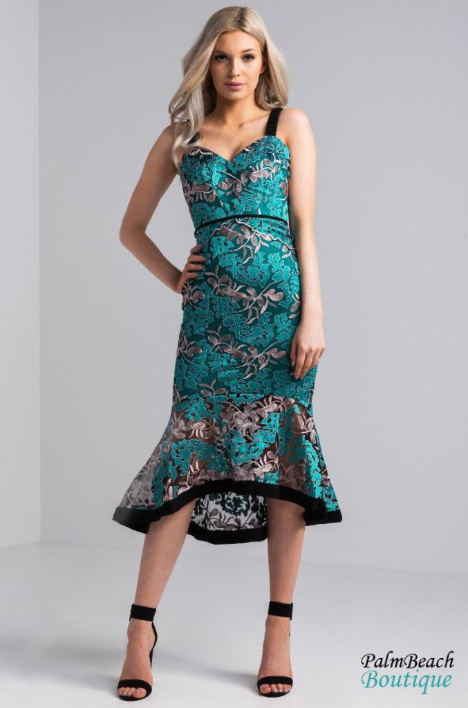 Floral Lace Mermaid Dress - Dresses