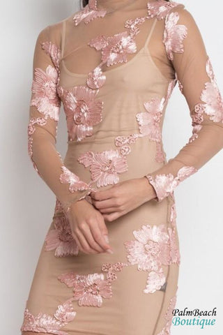 Floral Sheer Mesh Dress - Dresses
