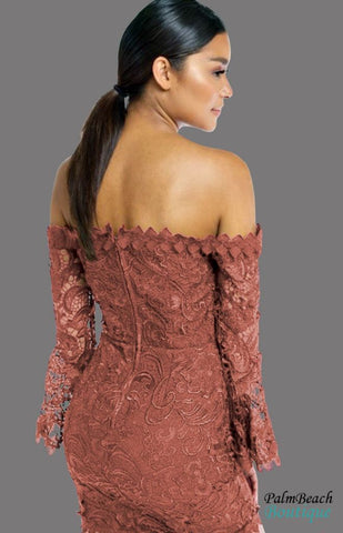Flower Lace Off Shoulder Mini Dress - Dresses