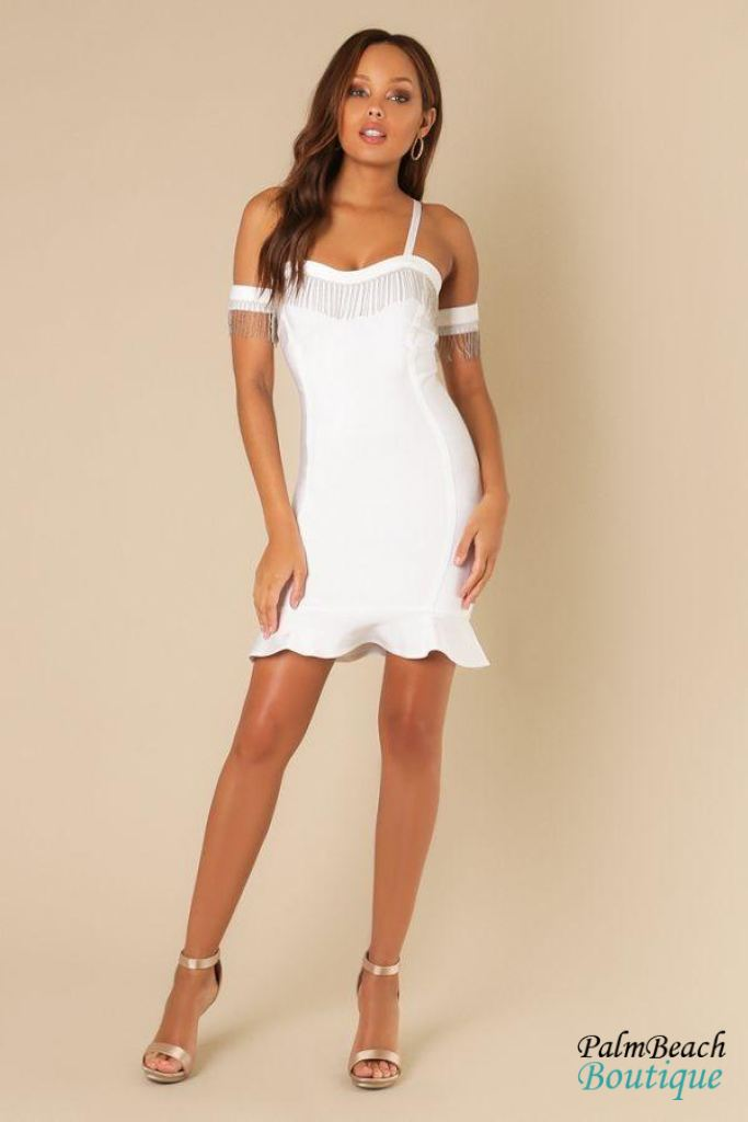 Fringe Embellished White Cold Shoulder Bodycon Dress - Dresses
