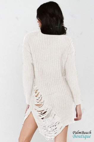 Fringed Long Sleeved Sweater Dress - Dresses