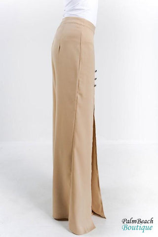 Front Slit Bead Detail Wide Leg Pants - Womens Pants