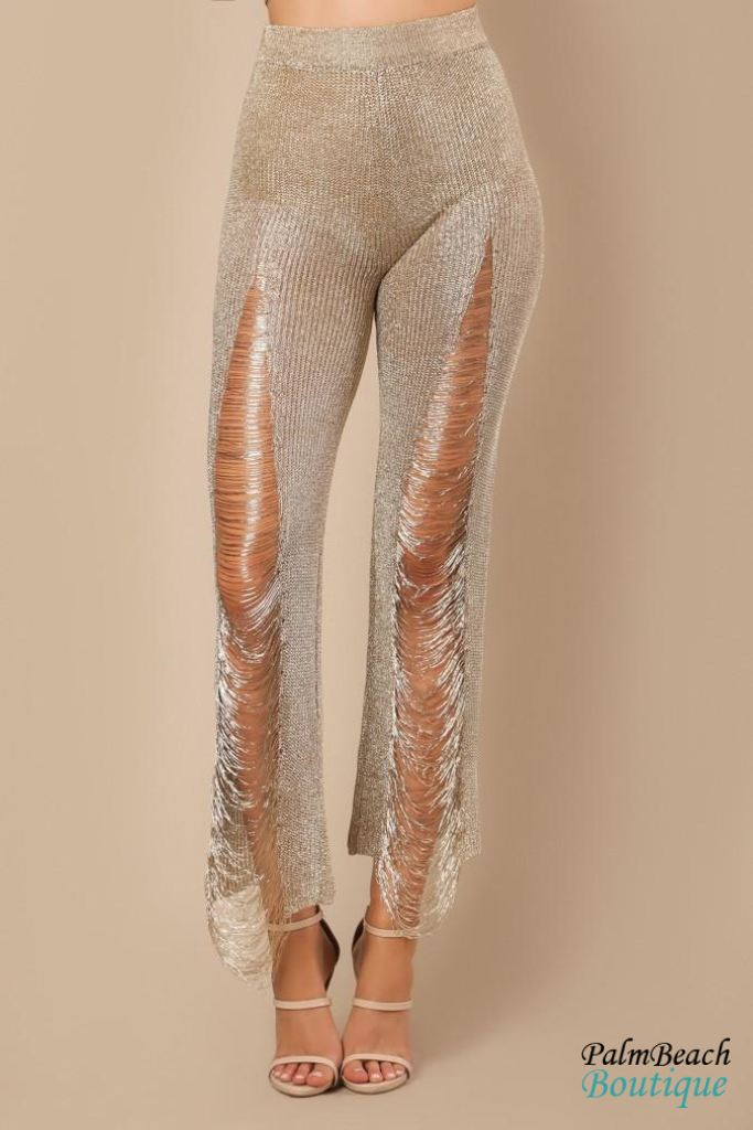 Gold Distressed Fringed Metallic Pants - Womens Pants