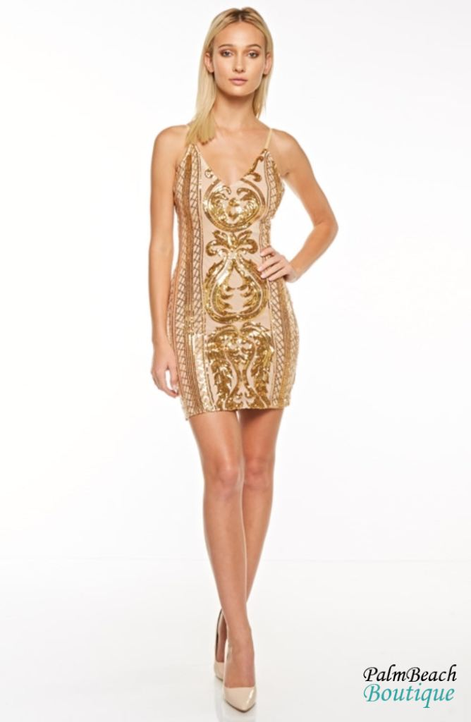 Gold Sequin Glam Dress - Small / - Dresses