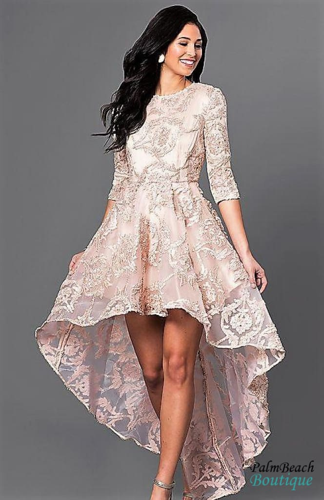 High-Low Lace Party Dress with Three-Quarter Length Sleeves - Dresses