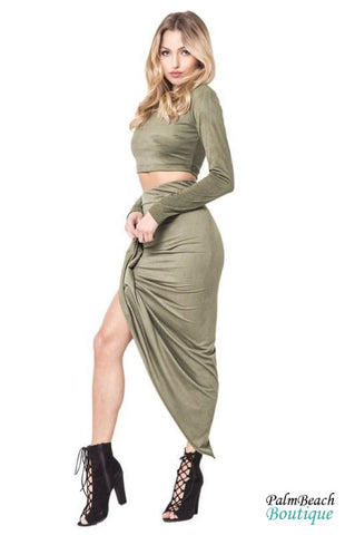 High Waist Faux-Suede Wrap Skirt Set - 2-Pc Sets