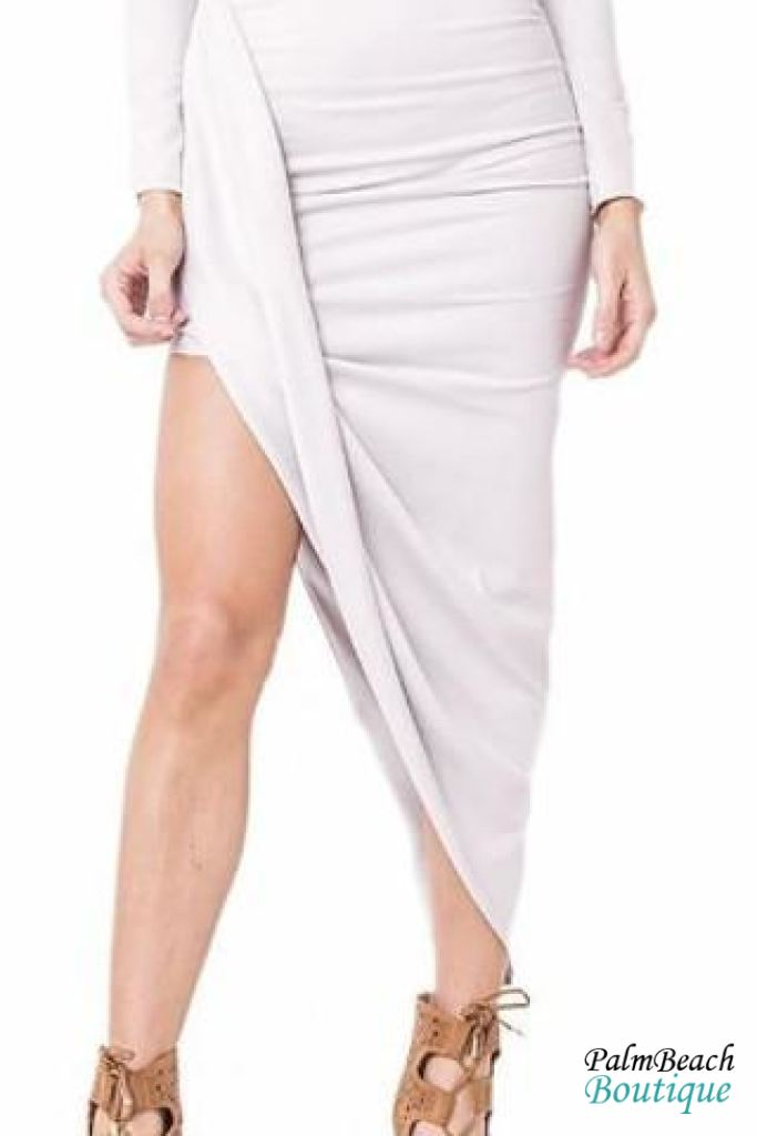 High Waist Faux Suede Wrap Skirt Set - 2-Pc Sets