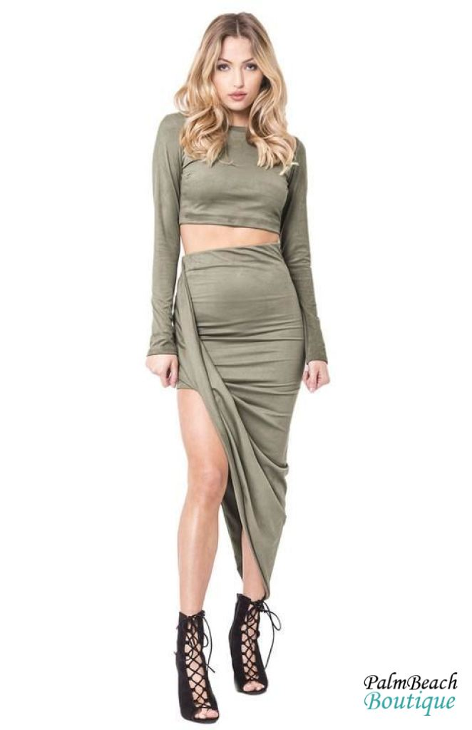 High Waist Faux-Suede Wrap Skirt Set - Small / Olive - 2-Pc Sets