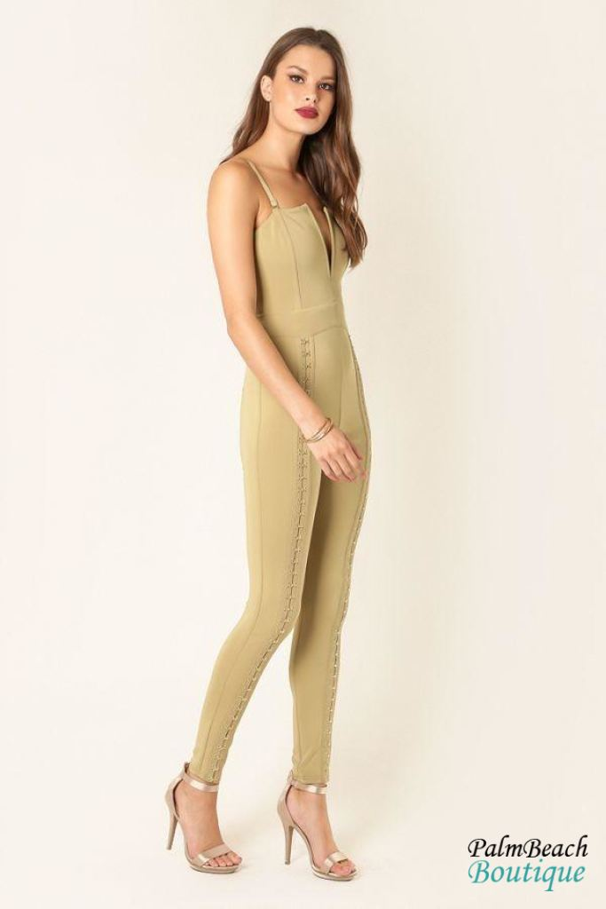 Hook & Eye Detailed Bandage Jumpsuit- - Womens Jumpsuits