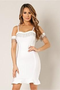 Fringe Embellished White Cold Shoulder Bodycon Dress