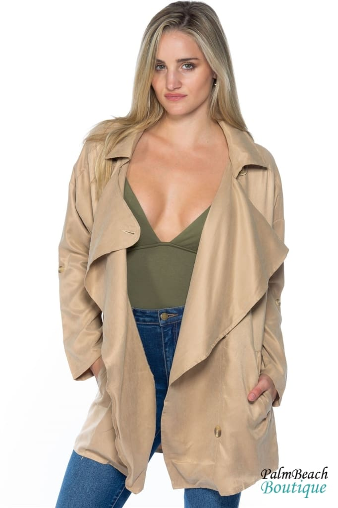 Khaki Oversized Double Breasted Button Down Blazer - Womens Coats & Jackets