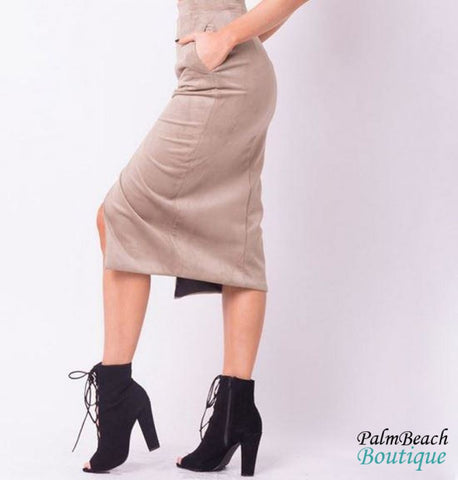 Label Suede Midi Skirt - Womens Skirts