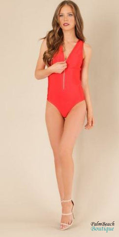 Lace-Up Back Zipper Front Bandage Swimwear