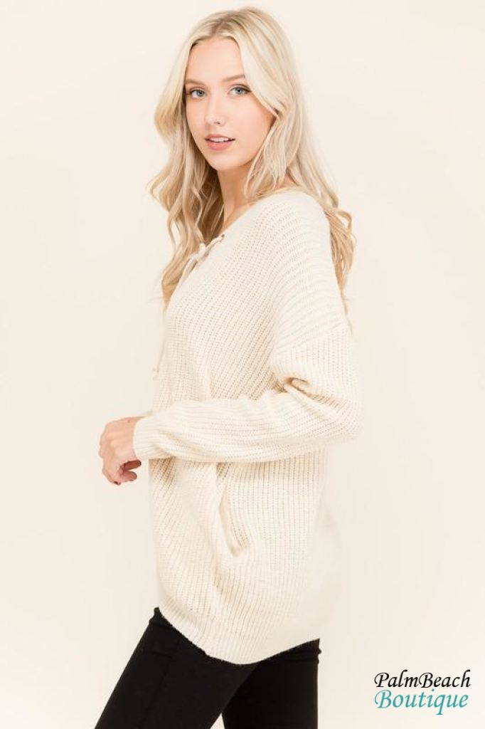 d765478f23 Palm Beachboutique - Lace Up Front Oversized Sweater Sweater ...