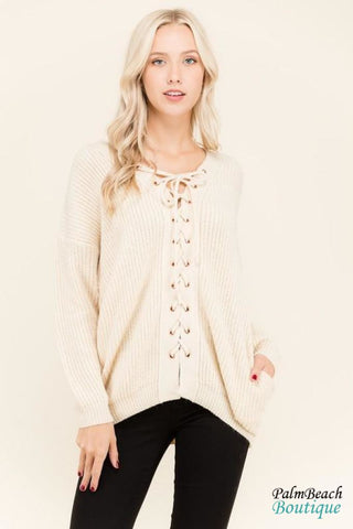 Crop Sweater Top With Shredded Detail