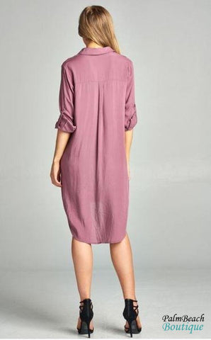 Lace Up Long Slv Dress - Womens Dresses