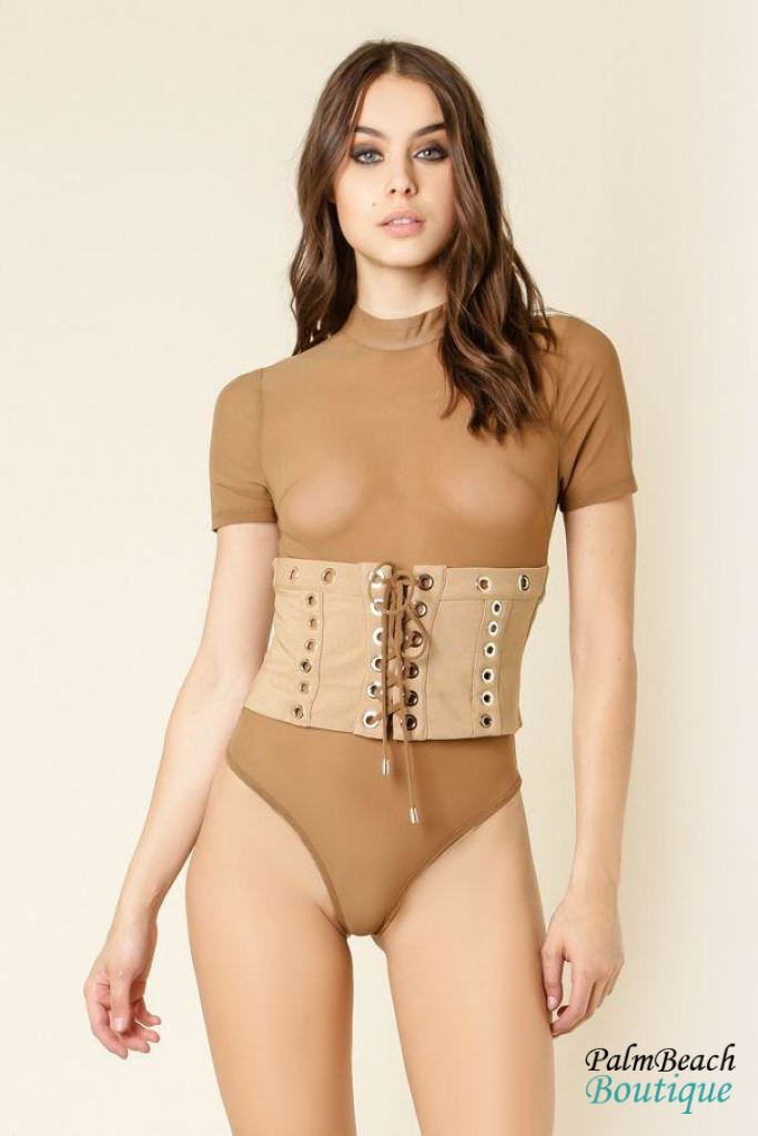 Lace-Up Waist Belted Mesh Bodysuit- - Bodysuits