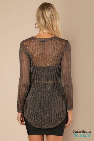 Long Sheer Metallic Sweater Top