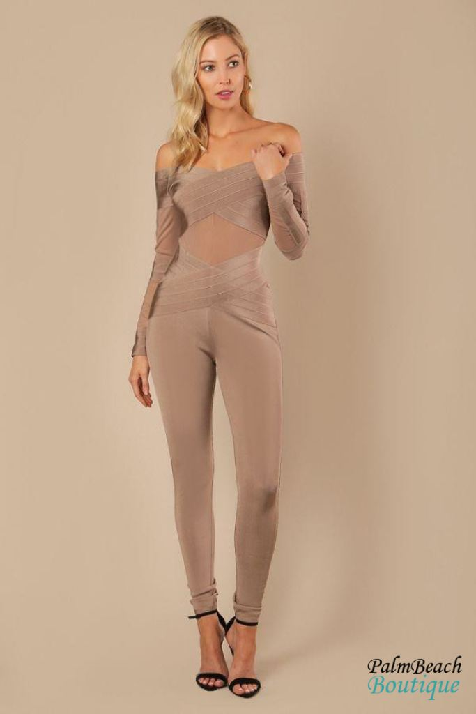 Long Sleeve Off Shoulder Bandage Jumpsuit - Womens Jumpsuits