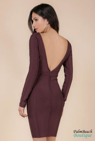 Long Sleeve Pleather Detailed Bandage Dress - Dresses