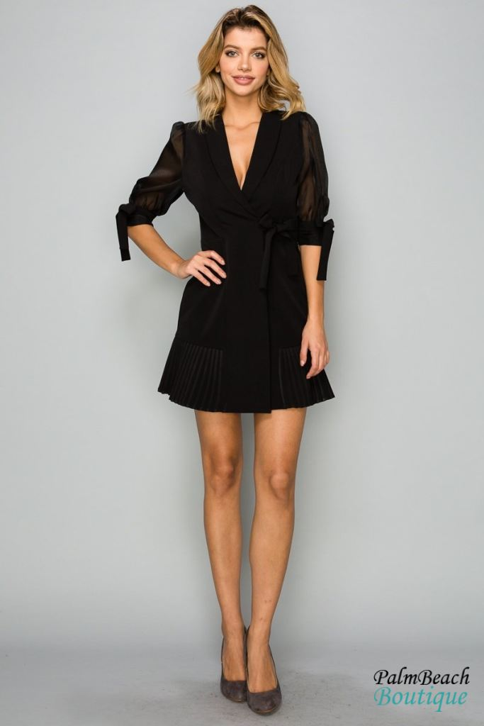 Long Sleeve Tie Detail Dress - Dresses