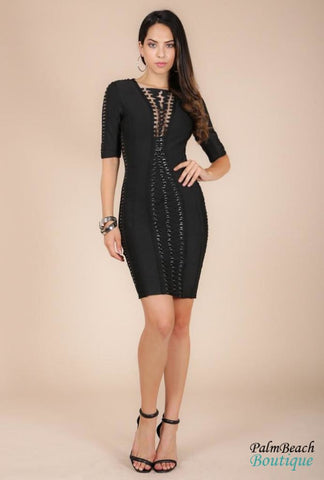 Metal Ring Lace-Up Bandage Dress - Dresses