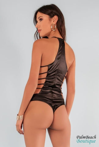Metallic Fabric Ring Open Sides Swim Bodysuit - Bodysuits
