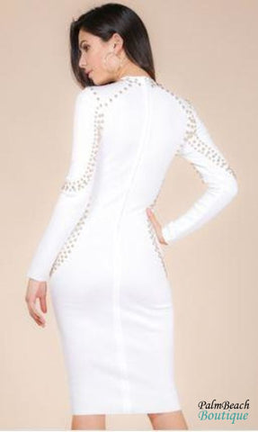 Mock Long Sleeve Bandage Dress - Dresses