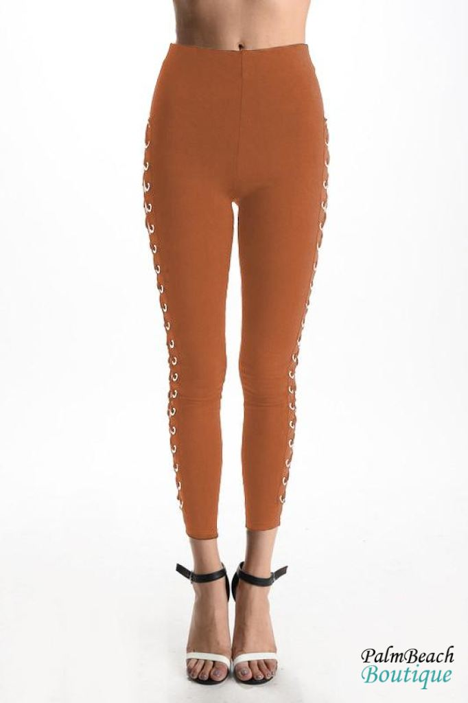 Mustard Side Grommet Lace Up Pants - Womens Pants