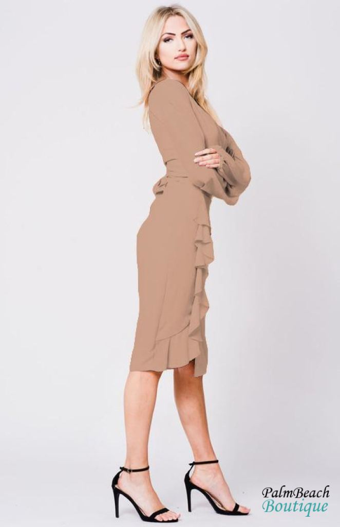 Nude Ruffle Detail Pencil Skirt - Womens Skirts