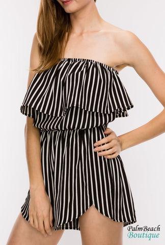 Off The Shoulder-Ruffle Romper - Rompers