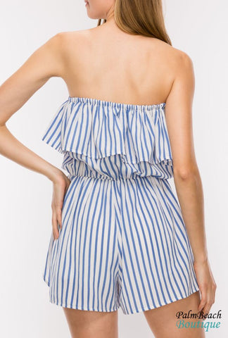 Off The Shoulder Ruffle Romper - Rompers