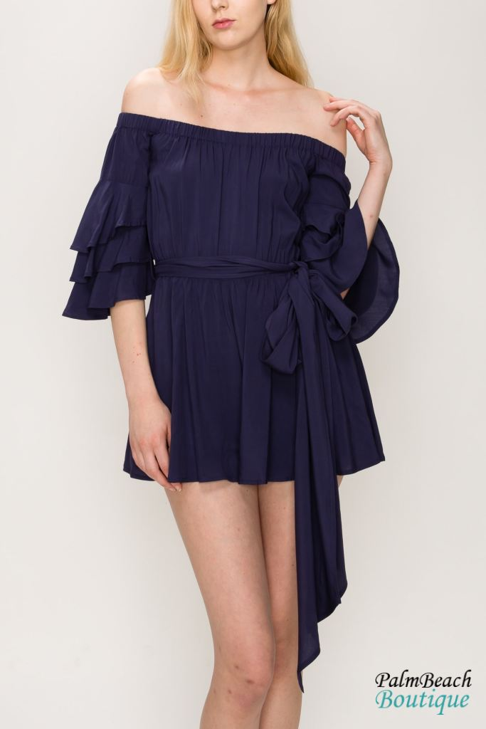 Off-The-Shoulder Ruffle Romper - Rompers