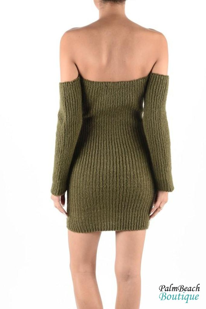 Off The Shoulder Sweater Dress - Dresses