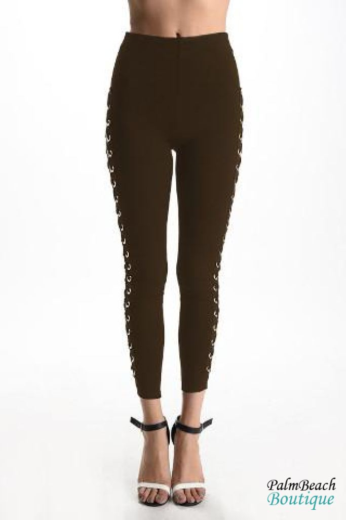 Olive Side Grommet Lace Up Pants - Womens Pants