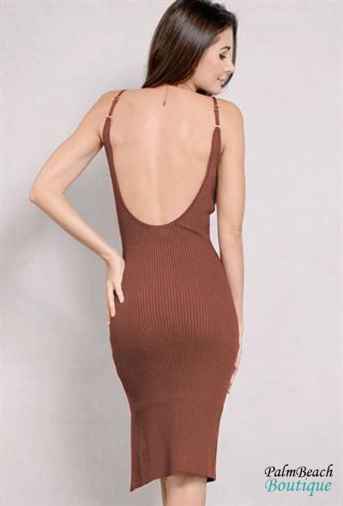 Open - Back Knit Bodycon Dress - Dresses