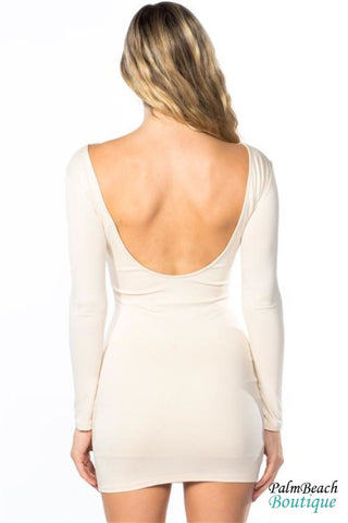 Open Back Long Sleeve Bodycon Dress - Dresses