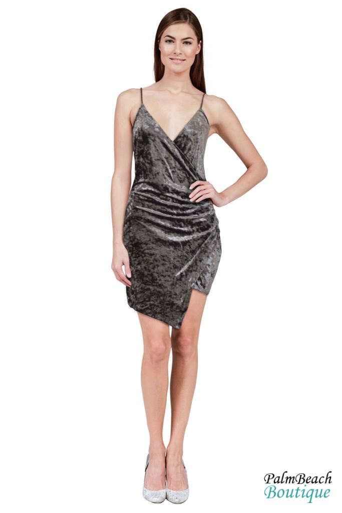 Overwrap Bodycon Velvet Dress - Dresses
