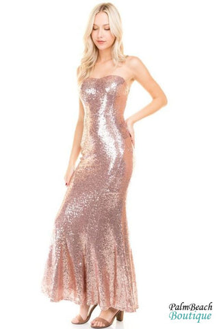 Petal Rose Sequin Tube Maxi Dress - Dresses