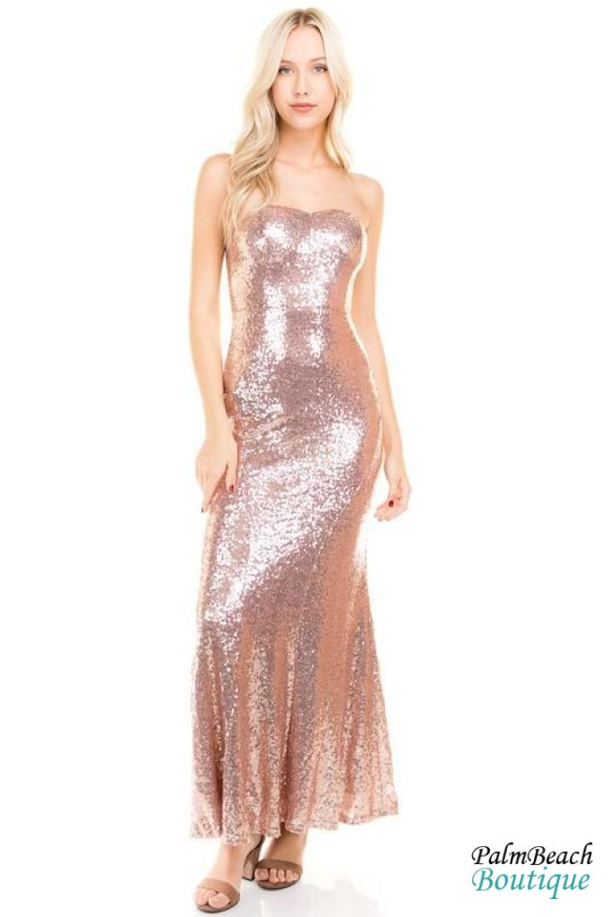 78a4d96b417 Palm Beach Boutique - Petal Rose Sequin Tube Maxi Dress Dresses ...