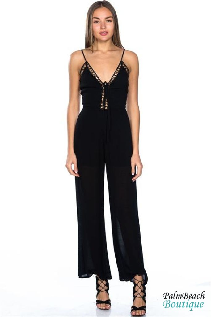 Plunge Lattice Cage Jumpsuit - Womens Jumpsuits