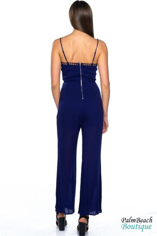 Plunge Lattice - Cage Jumpsuit - Womens Jumpsuits