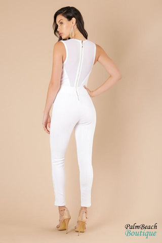 Plunging Neck Metal Ring Trim Bandage Jumpsuit - Womens Jumpsuits