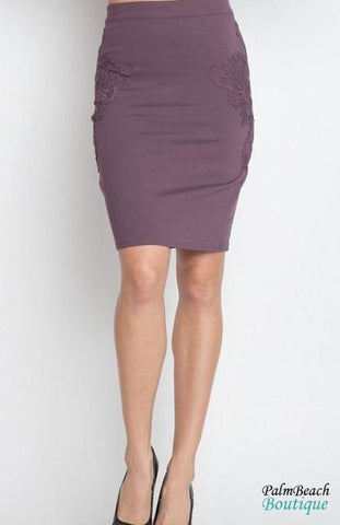 Label Suede Midi Skirt
