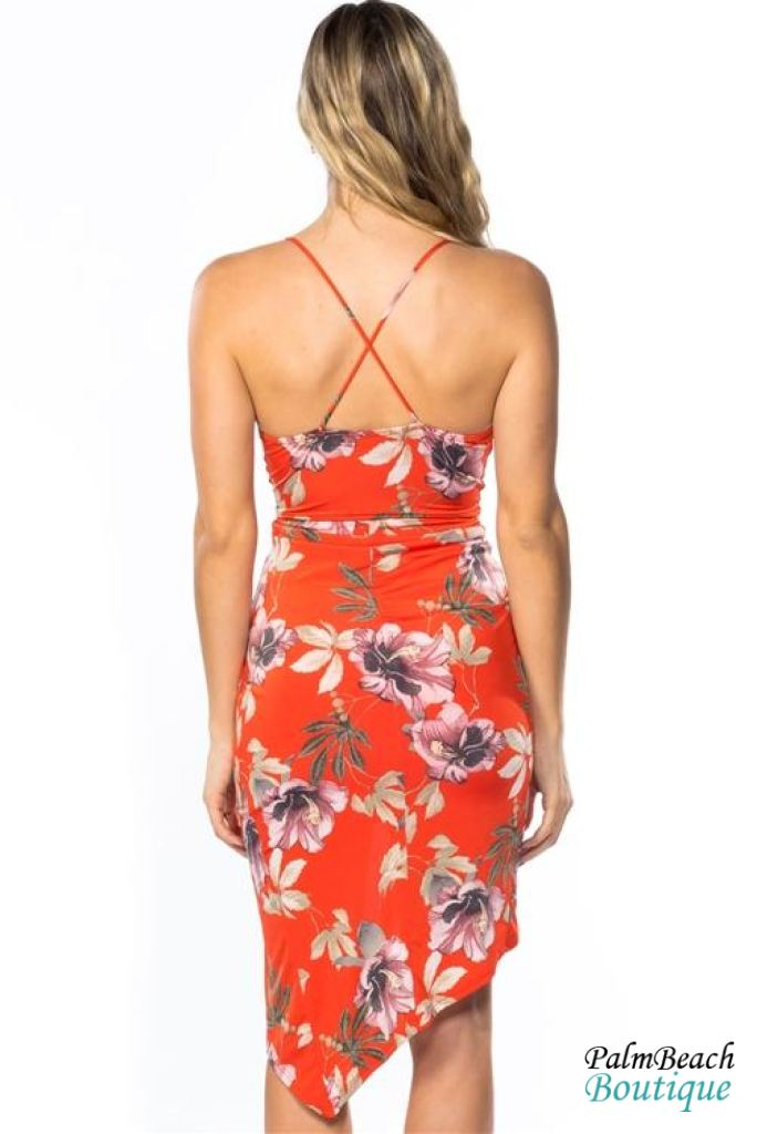Red Ruched Front Cross Back Floral Mini Midi Dress - Womens Dresses