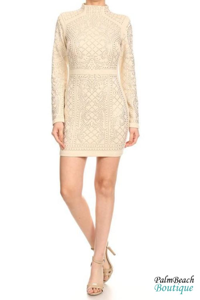 Rhinestone Glam Dress - Small / Beige - Dresses
